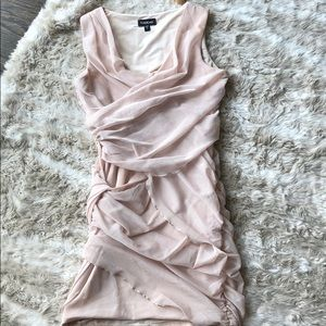 Bebe draped mesh nude dress